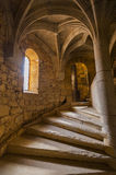 Spiral staircase. In stone from a medieval castle in France Stock Photos