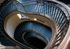 Spiral staircase. View of a blue carpeted spiral staircase in Hanover Germany Royalty Free Stock Photo