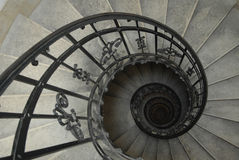 Spiral staircase. With forged railing Stock Photo