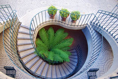 Spiral Staircase. This staircase looks like a flower from above Stock Images