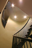 Spiral staircase. In an expensive home seen from below stock images