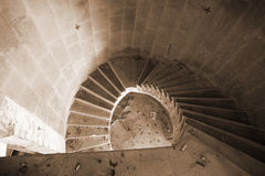 Spiral staircase in an abandoned hotel Royalty Free Stock Image