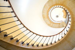 Spiral staircase. Bottom view of spiral staircase stock image