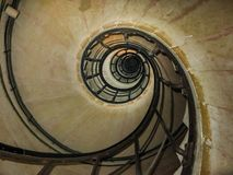 Spiral staircase bottom view Paris, France royalty free stock image