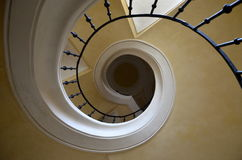 Spiral staircase in church - view from the floor Royalty Free Stock Photos