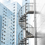Spiral staircase in city Stock Photo