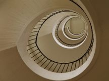 Spiral stairs perspective. Spiral staircase with curve shape diminishing perspective, low angle view Royalty Free Stock Images