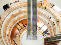 Spiral staircase and escalator. View of a spiral staircase and escalator at   Bangkok Art and Culture Centre   13  JUN 2013 Royalty Free Stock Images
