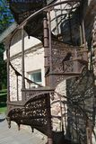 Spiral Staircase. Fragment of ancient iron cast spiral staircase royalty free stock photo