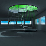 Spiral staircase with green holy flare inside Stock Images