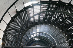 A spiral staircase inside a lighthouse Stock Photo