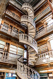 Spiral staircase at the Law Library in the Iowa State Capitol. Law Library Inside the Des Moines Iowa State Capital building with ornate architecture and spiral stock photo