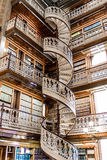 Spiral staircase at the Law Library in the Iowa State Capitol. Law Library Inside the Des Moines Iowa State Capital building with ornate architecture and spiral stock photos