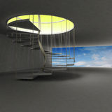 Spiral staircase leading to gold heaven above clouds Royalty Free Stock Images