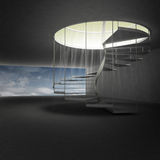 Spiral staircase leading to heaven above clouds Royalty Free Stock Photography