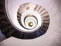 Spiral staircase Lighting in the tower stock image