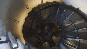 Spiral staircase in the old tower. stock video footage