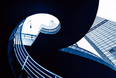 Spiral staircase pedestrian viaduct Stock Images