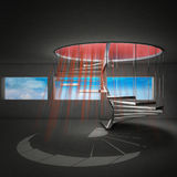 Spiral staircase with red beams from upstairs Royalty Free Stock Photography