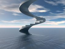Spiral staircase in sea Stock Photography