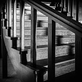 Spiral staircase with shiny wooden elements stock image