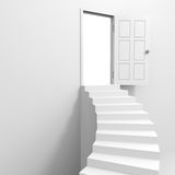 Spiral staircase to the open door. vector illustration
