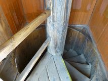 Spiral staircase in the tower stock images