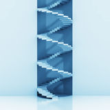 Spiral staircase vertical construction blue background Stock Photos