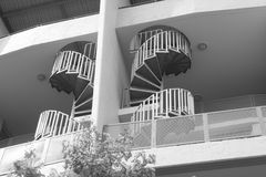 Spiral staircases. In apartment in black and white contrast Royalty Free Stock Image