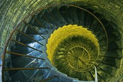 Spiral stairs. In ancient church in Saint Petersburg, Russia. Natural and artificial light royalty free stock photos