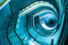 Spiral stairs. Wide-angle view down a spiral stairs from the viewing platform at the highest point Royalty Free Stock Image