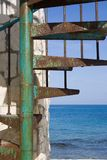 Spiral stairs 2. Stairs alongside a stone structure on a caribbean island Royalty Free Stock Images