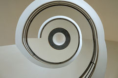 Spiral Stairs. A view of the a 1930 spiral staircase at the De La Warr Pavilion in Bexhill on Sea Stock Photos