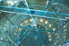 Spiral stairs. Looking down through a transparent staircase that spirals around Royalty Free Stock Photography