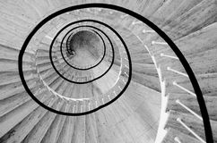 Spiral stairs black and white. Black and white spiral stairs from above Royalty Free Stock Image