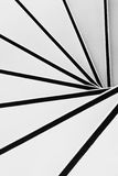 Spiral stairs in black and white. Spiral minimalistic stairs in black and white. Top view Stock Photo
