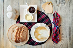 Breakfast on wooden table Royalty Free Stock Photo