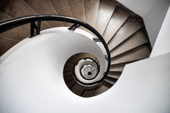 Spiral stairs, brown and white Stock Photo