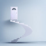 Spiral stairs and closed doors Stock Images