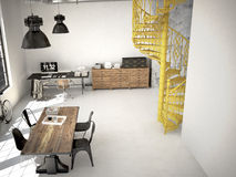 Spiral stairs. 3d rendering. Spiral stairs and living room in modern loft.3d rendering Royalty Free Stock Photography