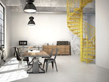 Spiral stairs. 3d rendering. Spiral stairs and living room in modern loft.3d rendering Stock Images