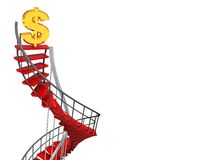 Spiral stairs and dollar sign. 3d illustration of spiral stairs and dollar sign, to success concept Stock Photography