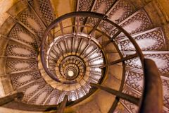 Spiral stairs inside Arc de triomphe in Paris France Royalty Free Stock Photography