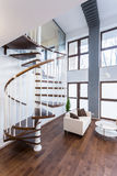 Spiral stairs in luxury mansion. Close-up of spiral stairs in luxury mansion Royalty Free Stock Images