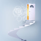 Spiral stairs and magic doors Royalty Free Stock Image