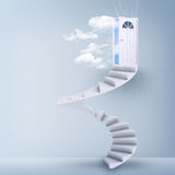 Spiral stairs and magic doors. Leading to a cloudscape Stock Photos