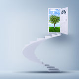 Spiral stairs and magic doors Royalty Free Stock Photos
