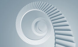 Spiral stairs perspective background. 3d illustration toned in blue Stock Image