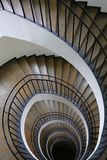 Spiral stairs perspective. Spiral staircase with curve shape diminishing perspective, high angle view Royalty Free Stock Photography