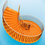 Spiral stairs. Pointing to infinity Stock Photo